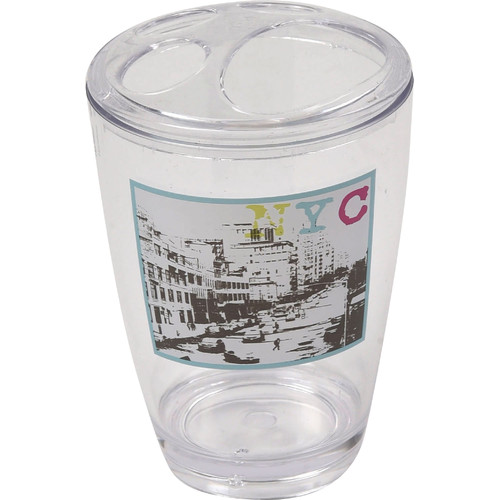 Evideco Urban Nyc Clear Acrylic Printed Toothbrush Holder