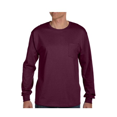 Pocket Sleeves (Hanes Adult Tagless Long Sleeve Tee With Pocket, Style)
