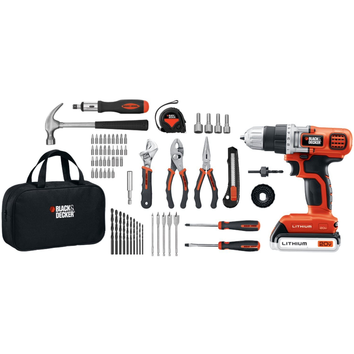 Black+Decker Ldx120 Pk 20 V Max* Lithium Ion Drill Driver And 66 Piece Project Kit by Black+Decker