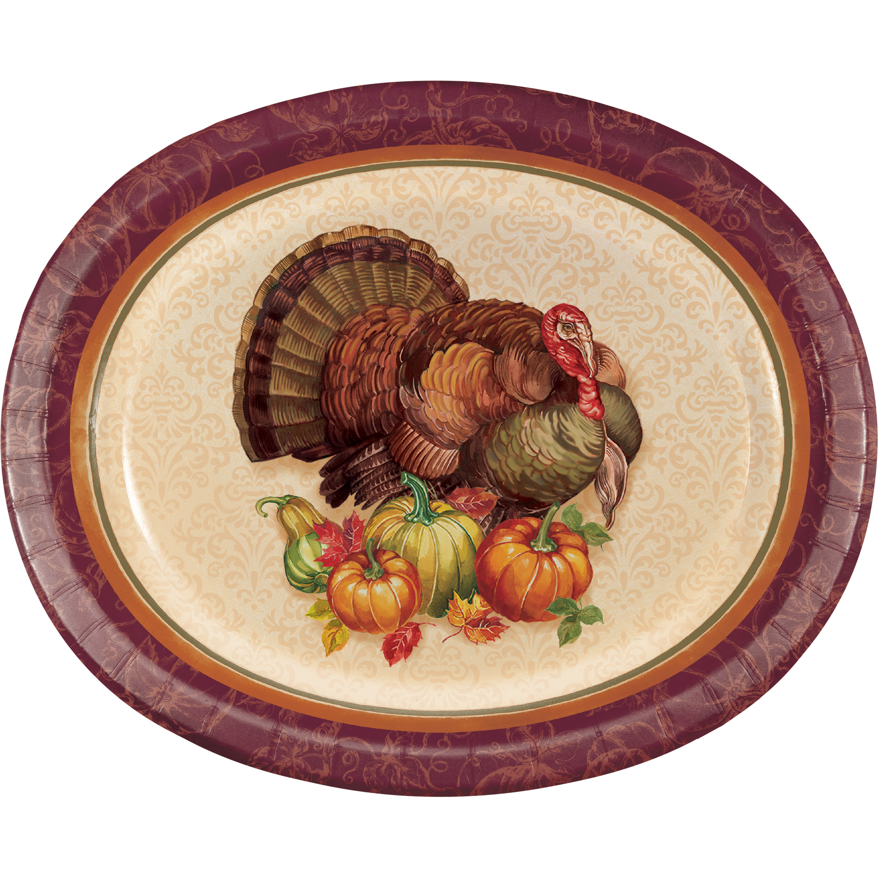 Thanksgiving Turkey Oval Plates, 24 count