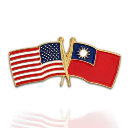 USA and Taiwan Crossed Friendship Flag Enamel Lapel Pin