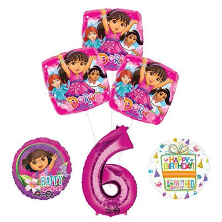 Dora The Explorer Birthday Decorations (Dora the Explorer 6th Birthday Party Supplies and Balloon Bouquet)