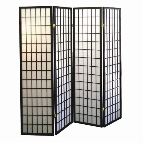 International 4 Panel Shoji Screen Room Divider Black Define a