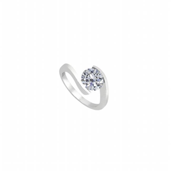 Fine Jewelry Vault UBJ7806W14CZ 14K White Gold Fashion Triple CZ Solitaire Ring of 1 CT CZ