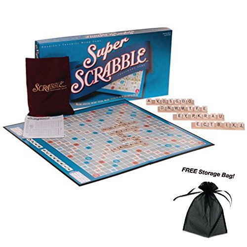 Super Scrabble Classic Crossword Board Game with Free Storage Bag by Scrabble