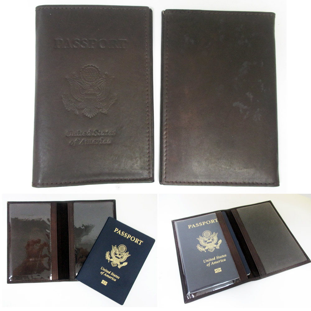 Brown Leather EMBOSSED USA Passport Cover Organizer Travel Wallet ATM Holder New