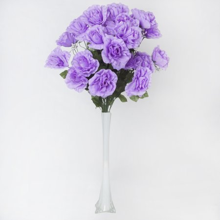 Efavormart 96 GIANT OPEN ROSE Bush Artificial Flowers for DIY Wedding Bouquets Centerpieces Arrangements Wholesale - 18 colors - Lavender Centerpieces