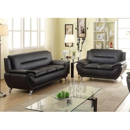 Norton Pc Black Faux Leather Modern Living Room Sofa And