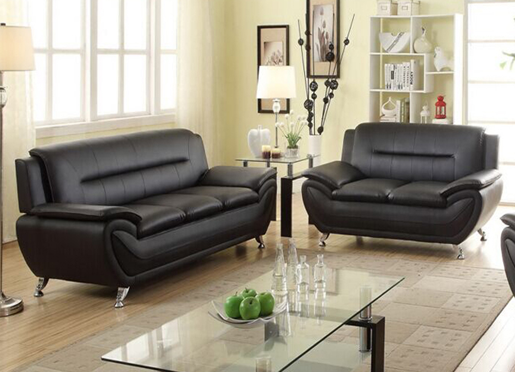 Beautiful Norton 2 Pc Black Faux Leather Modern Living Room Sofa And Loveseat Set Part 13