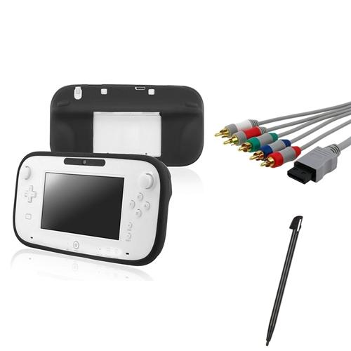 INSTEN Black Gamepad Remote Silicone Case+Component Cable+Stylus For Wii U