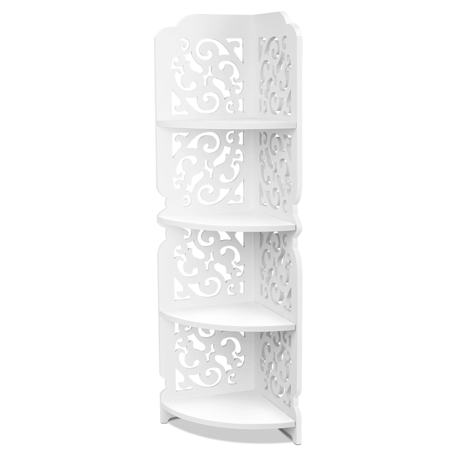 NEW 3TIER WHITE WOODEN CORNER SHELF UNIT KITCHEN GIRLS ROOM BATHROOM SHELF UNIT