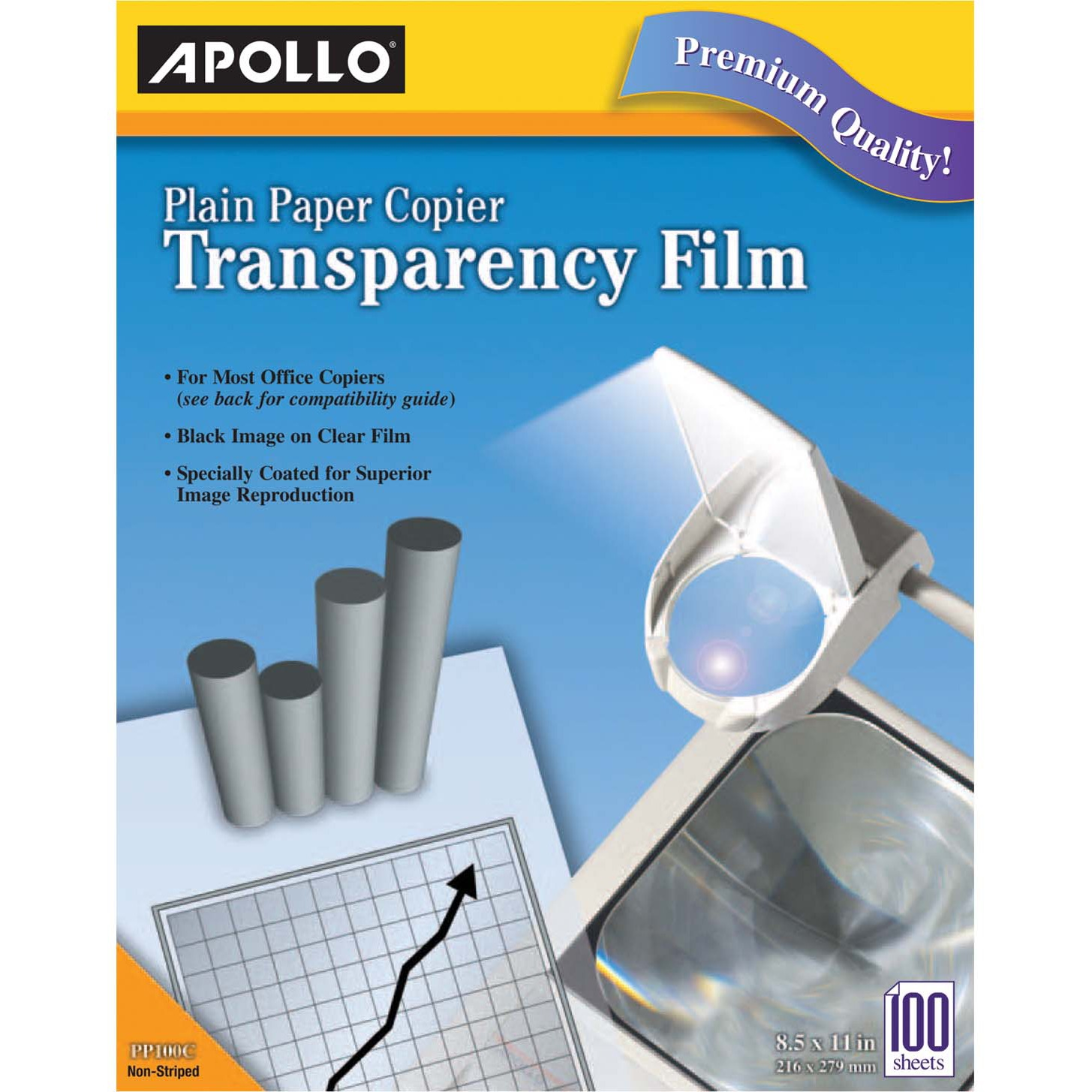 Apollo Plain Paper B/W Laser Transparency Film w/Handling Strip, Letter, Clear, 100/Box