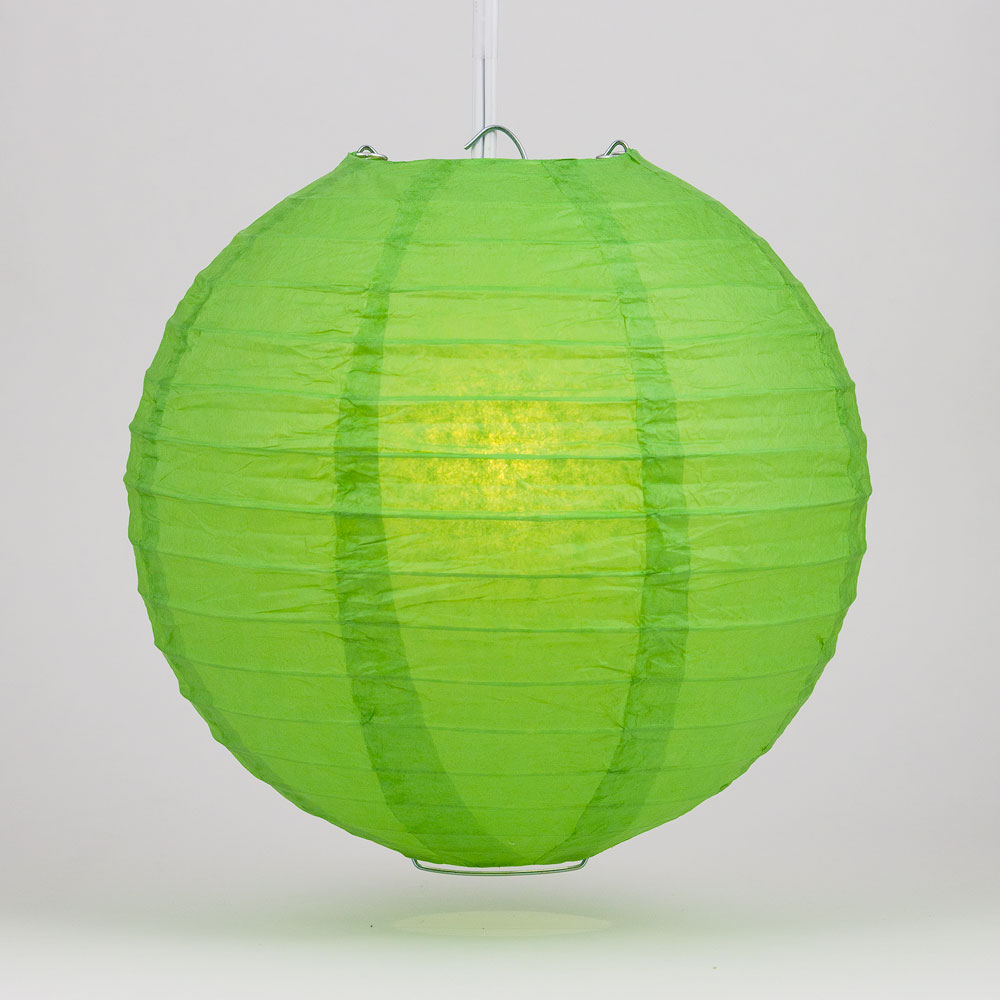 "Quasimoon 4"" Grass Green Round Paper Lantern, Even Ribbing, Hanging Decoration (10 Pack) by PaperLanternStore"