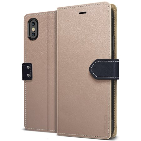 iPhone X Case, OBLIQ [K1 Wallet][Mud Gray][PREMIUM LEATHER] Flip Cover with Three Credit Card & Kickstand Stylish Wallet Case (for iPhone X) (2017)