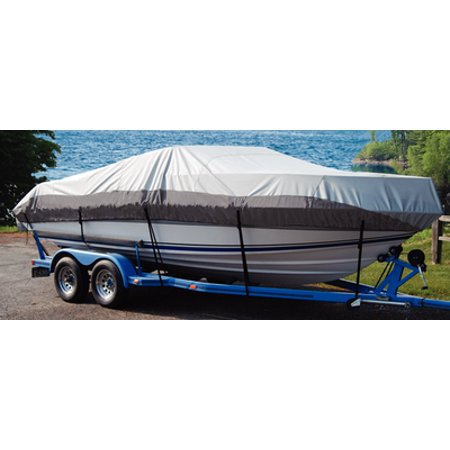 V-hull Runabout Bow - Taylor Heavy Duty Polyester 2-Tone Color Fabric BoatGuard Eclipse Boat Cover with Storage Bag, Tie-Down Straps and Support Pole, Fits 19' to 21' V-Hull Runabout Bow Rider, Up to 102
