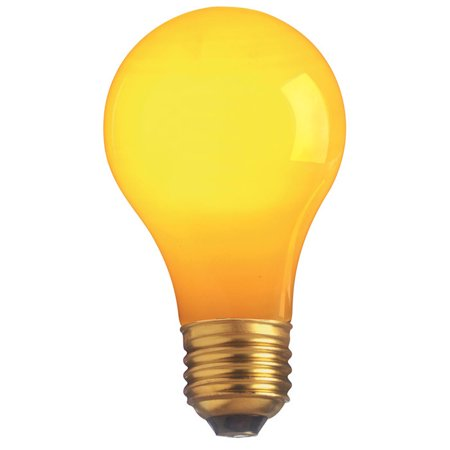 130v Yellow Bug (Satco S4983 40W 130V A19 Ceramic Yellow E26 Base Incandescent bulb )