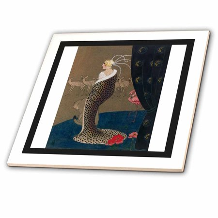 3dRose Print Of WPA Art Deco Woman In Cheetah Coat With Animals - Ceramic Tile, 4-inch