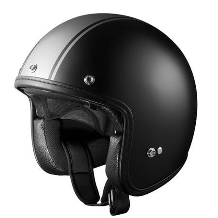GLX DOT Open Face Scooter Bobber Motorcycle Helmet Shield Matte Gray Stripe L