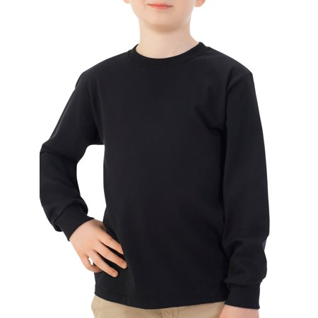 Fruit of the Loom Long Sleeve Crew T-Shirt with Rib Cuffs (Little Boys & Big Boys) (M And M Boys)
