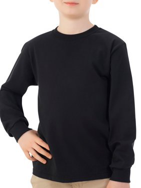 Fruit of the Loom Boys 4-18 Long Sleeve Crew T-Shirt with Rib Cuffs