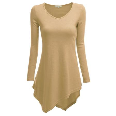 (Doublju Women's Long Sleeve Asymmetrical Tunic Shirt Casual Loose Trapeze Tunic Top Shirt BEIGE 2XL Plus Size)