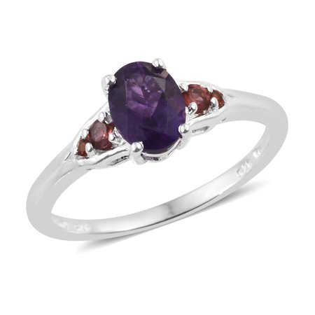 - 925 Sterling Silver Oval Amethyst Garnet Promise Ring Jewelry Cttw 1.1