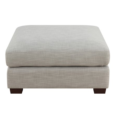 Emerald Home Vernon Cloud Gray Ottoman with Fixed Cushion And Block Feet