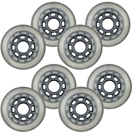 Inline Skate Replacement Wheels 76mm 78A Grey/Silver 8