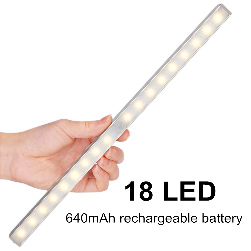 Motion Sensor Wardrobe Light, LOFTER Wireless PIR Motion Activated 18 LED Rechargeable Kitchen Cabinet Closet Drawer Under Counter Cupboard Shed Garage LED Night Light Ligting Bar (Pure White)