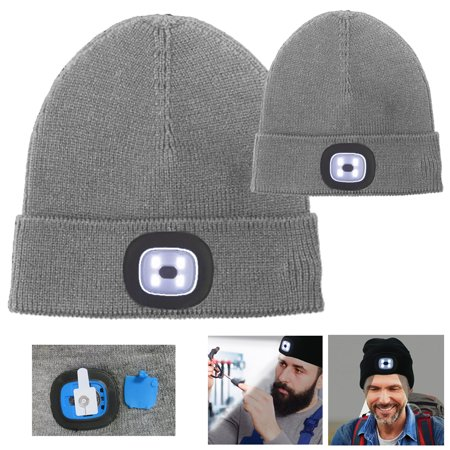1e6a6378 2X Beanie Caps 4 LED Flashlight Hat Hands Free Warm Headlights Rechargeable  Wool - Walmart.com