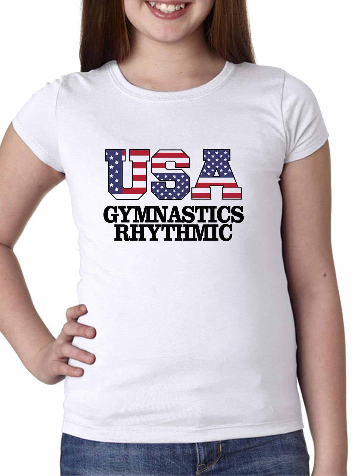 USA Gymnastics Rhythmic - Olympic Games - Rio - Flag Girl's Cotton Youth T-Shirt