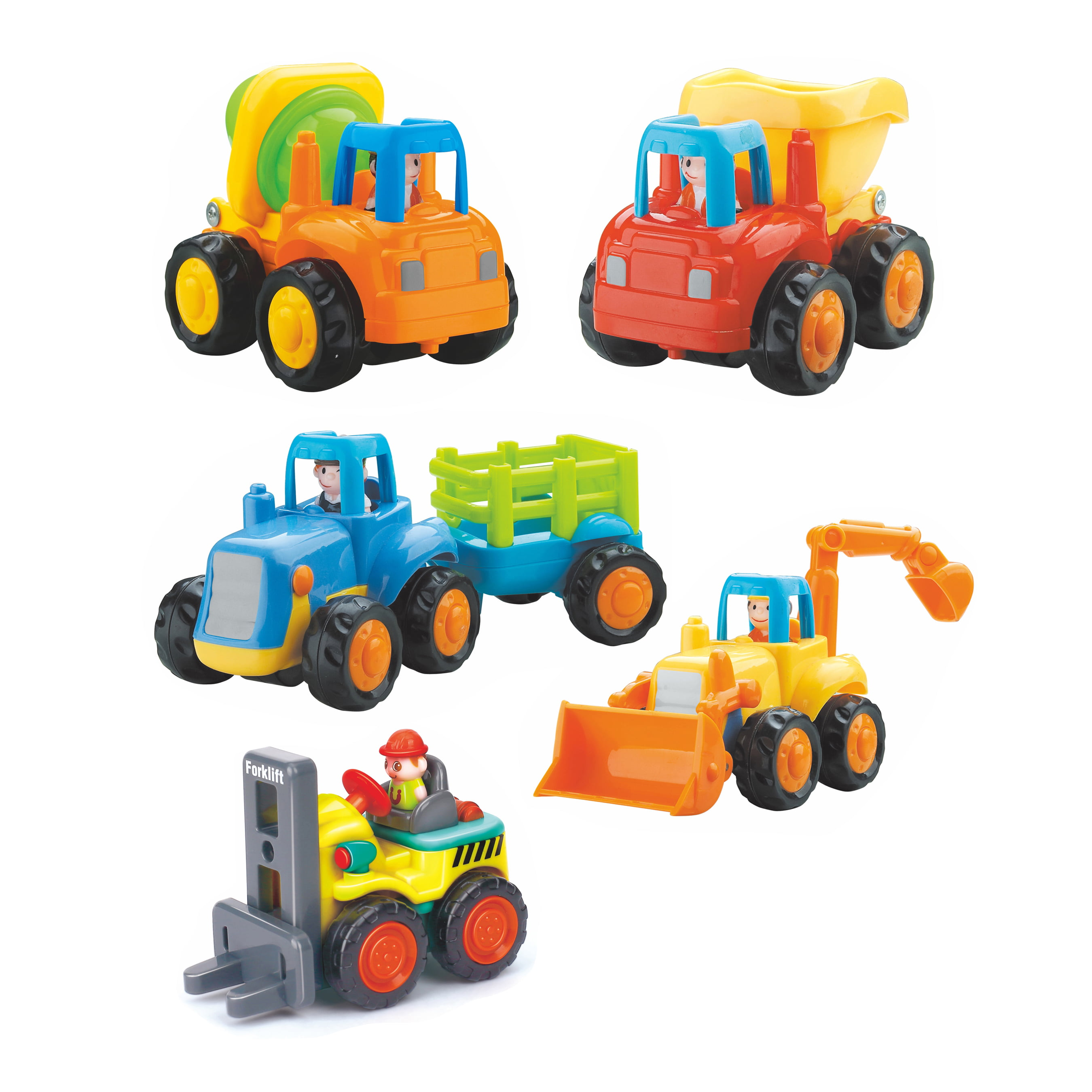 Huile Set of 4 Friction Powered Car Toys,Tractor,Dump truck,Cement Mixer,Bulldozer truck by Hola
