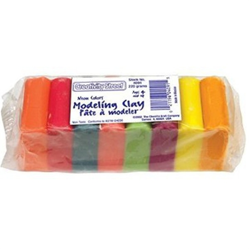 Chenille Kraft Modeling Clay Assortment, 27 1/2g each Assorted Neon,220 g 4091