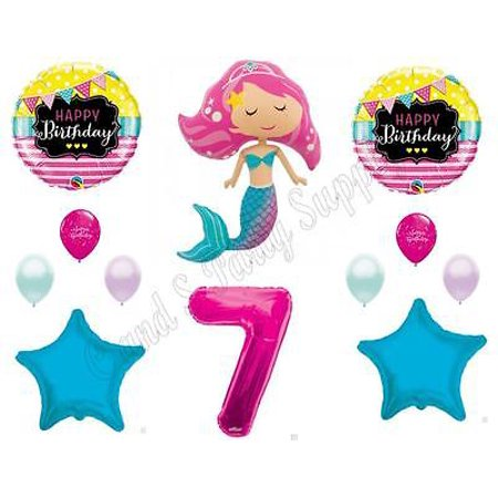 PINK MERMAID 7th Birthday Party Balloons Decoration Supplies Ocean Luau Beach