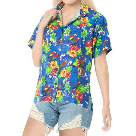 HAPPY BAY Women's Beach hawaiian button down blouse casual tank top aloha Shirt Blue_X191 (Women's Hawaiian Blouses)