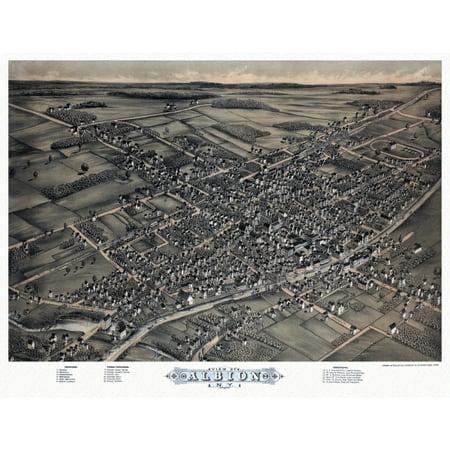 historic map of albion new york 1880 oswego county poster print walmart com