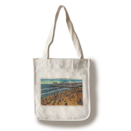 The Cyclone Racer and Beach Crowds, Long Beach (100% Cotton Tote Bag - (Grab Bag Racer)