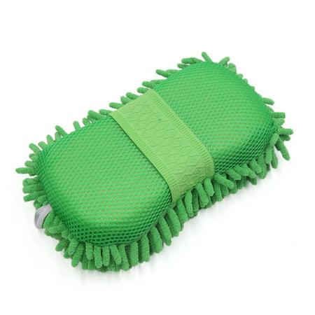 8-Shape Microfiber Fiber Chenille Sponge Car Wash Cleaning Glove Brush Pad Green