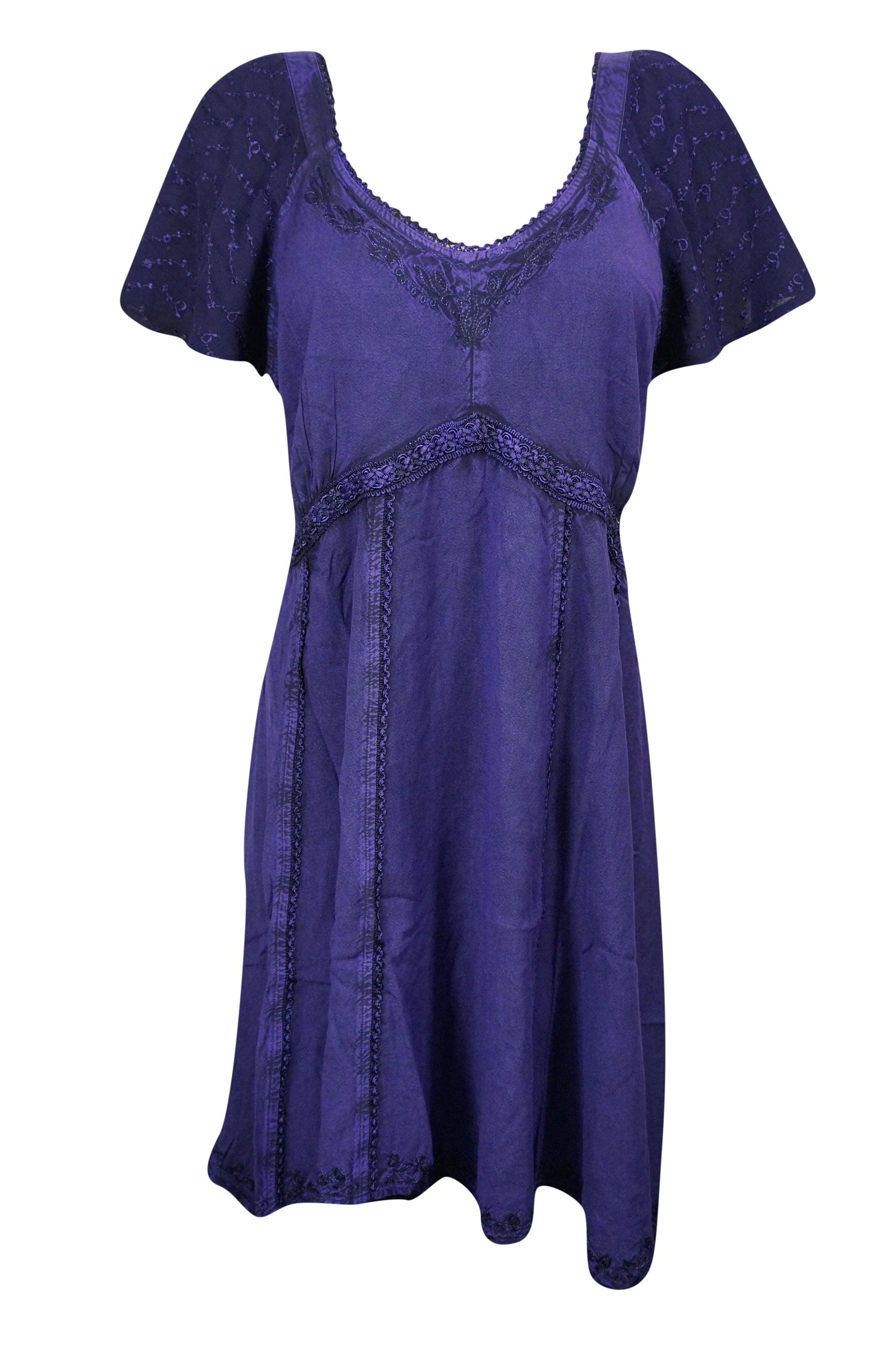 b647dc5df4bc Mogul Interior - Mogul Women s Summer Dress Embroidered Bell Sleeves Purple  Sundress S - Walmart.com