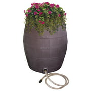 Rescue 50-Gallon Whiskey Rain Barrel – Includes Planter, Rain Water Diverter, Outlet Hose – Flatback Design – Brown