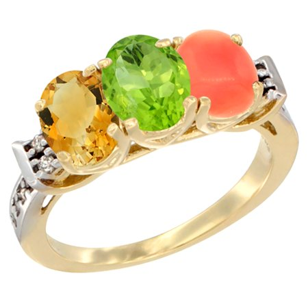 14K Yellow Gold Natural Citrine, Peridot & Coral Ring 3-Stone 7x5 mm Oval Diamond Accent, sizes 5 -
