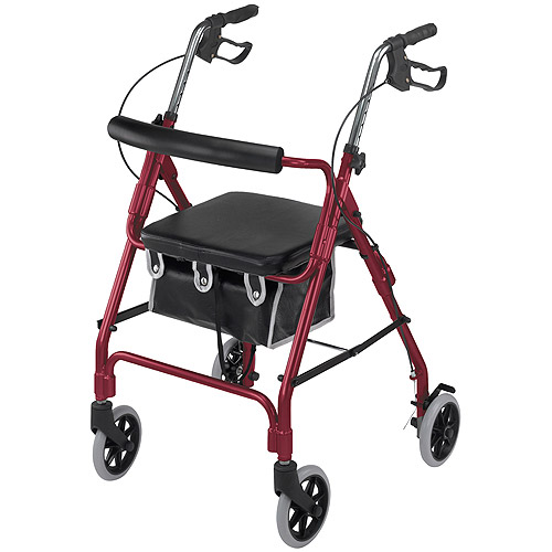DMI Ultra Lightweight  Aluminum Rollator with Curved Backrest and Pouch, Burgundy
