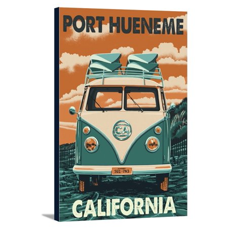 Port Hueneme, California - Camper Van - Letterpress - Lantern Press Poster (24x36 Gallery Wrapped Stretched Canvas)