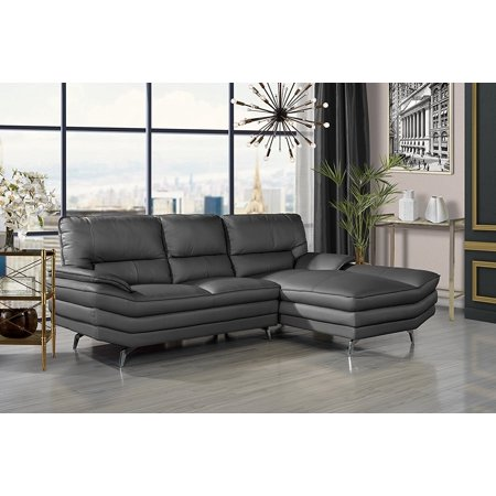 Divano Roma Furniture Living Room Leather Sectional Sofa L Shape Couch With Chaise Lounge Grey