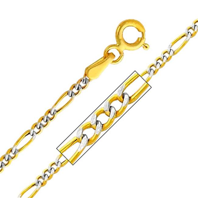 Precious Stars Jewelry 14k Two Tone Gold 1.9-mm Figaro Chain Necklace (16 inch)