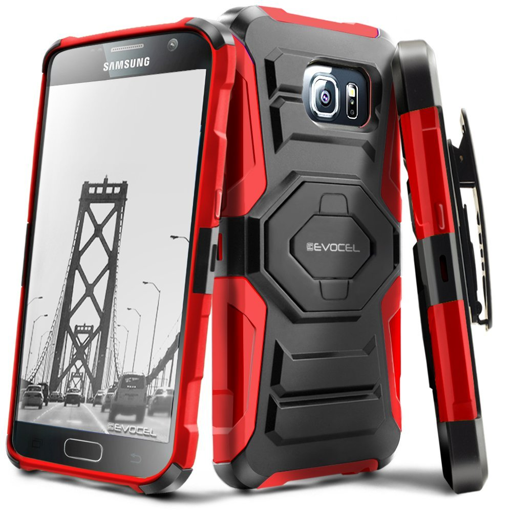 Galaxy S7 Case, Evocel [Belt Clip Holster] [Kickstand] [Dual Layer] New Generation Phone Case for Samsung Galaxy S7 (SM-G930), Red