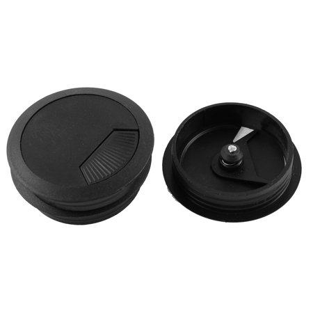 3 pcs office computer desk cable hole covers plastic grommets black 60mm. Black Bedroom Furniture Sets. Home Design Ideas
