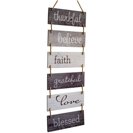 Large Hanging Wall Sign: Rustic Wooden Decor (Grateful, Love, Believe, Thankful, Faith, Blessed) Hanging Wood Wall Decoration (11.75