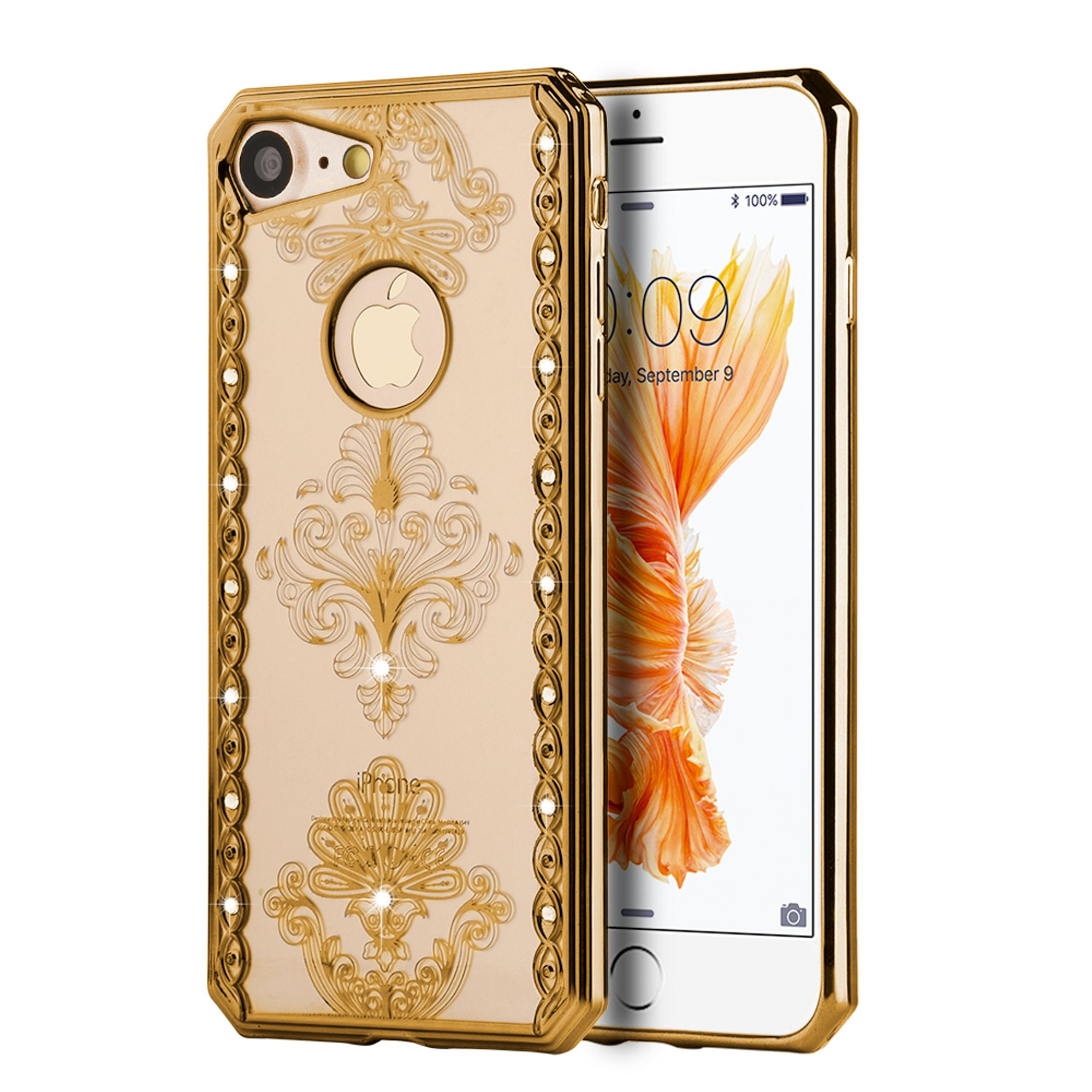 Insten Royal Floral Gel Case w/Diamond for Apple iPhone 7 - Gold/Clear