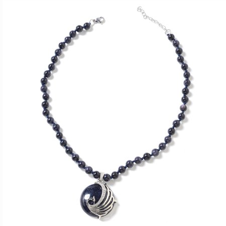 "Blue Goldstone White Crystal Pendant and Bead Necklace 18"" in Iron & Stainless Steel"